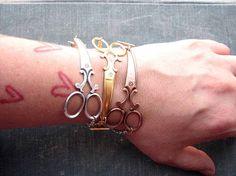 scissor bracelet silver shears jewelry by friendlygesture, $20.00