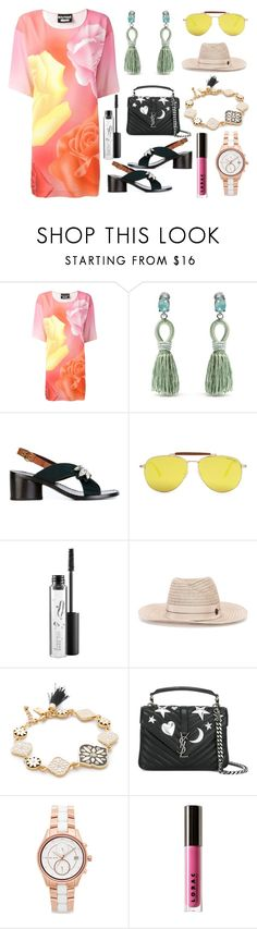 """""""Printed t Shirt dress"""" by camry-brynn ❤ liked on Polyvore featuring Boutique Moschino, Oscar de la Renta, Marc Jacobs, Tom Ford, MAC Cosmetics, Maison Michel, Kate Spade, Yves Saint Laurent, Michael Kors and LORAC"""