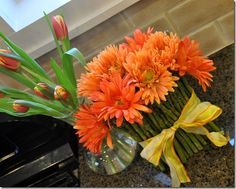 Creative flower arrangement for a spring party.
