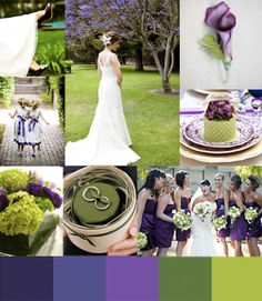 wedding color story green and purple