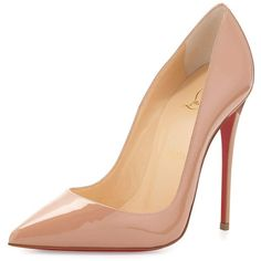 Christian Louboutin So Kate Patent Red Sole Pump ($675) ❤ liked on Polyvore featuring shoes, pumps, heels, beige, shoes pumps, low pumps, patent leather pumps, stiletto heel pumps, pointed toe pumps and heel pump