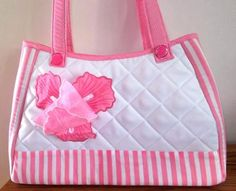 """Pretty in Pink Handbag"" this chic handbag measures 15 inches by inches, and features pretty Iris in Organza & Tulle. Machine Embroidery Projects, Embroidery Software, Custom Embroidery, Embroidery Thread, Pink Handbags, Embroidery For Beginners, Handmade Bags, Pretty In Pink, Totes"