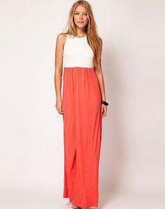 Mango Contrast Skirt Maxi Dress