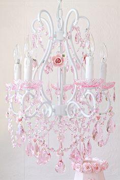 5 Light Chandelier Fleur de Crystale Shabby Chic Pink ...
