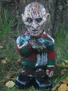 Freddy Krueger Garden Gnome - I would LOVE to have one of these in my garden!