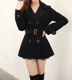 Double-Breasted Worsted Tailored Collar Solid Color Modern Style Long Sleeves Coat For Women (KHAKI,L) | Sammydress.com