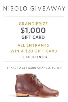 NISOLO GIVEAWAY! Enter to win $1000 Gift Card + share to get more entries. All entrants win a $20 Gift Card.