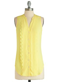 Pineapple Punch Top - Sheer, Long, Yellow, Solid, Buttons, Scallops, Daytime Party, Sleeveless, Work, Pastel, Beach/Resort, Summer