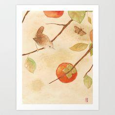 Winter Wren Art Print by FindChaos - wren with persimmons