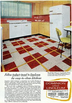 Vintage yellow and red kitchen... with red, white and yellow checked linoleum -  1955.