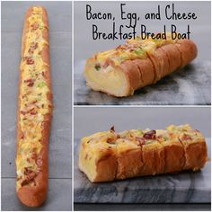 I've been seeing yummies from this page on fb (tasty) all day for like three days now. lmao Bacon, Egg, and Cheese Breakfast Bread Boat What's For Breakfast, Breakfast Dishes, Breakfast Recipes, Breakfast Casserole, Pan Relleno, Cuisine Diverse, Yummy Food, Tasty, Paninis