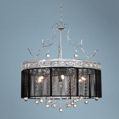 Crystal and Black 6-Light Halogen Chandelier (72189) Lamps Plus $499.98