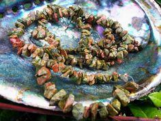 Unakite ~ One 36 inch Reiki infused chip bead strand