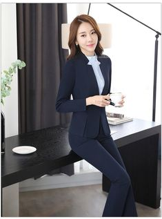 Fashion Dark blue Blazer Women Business Suits Formal Office Suits Work Wear Pant and Jacket Sets Beauty Salon Uniforms Dark Blue Pants, Grey Pants, Blazers For Women, Pants For Women, Jackets For Women, Pencil Skirt Casual, Dress Suits, Pant Suits, Minimalist Fashion Women