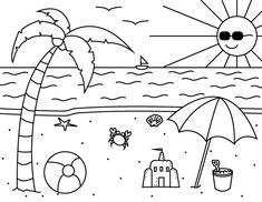 Printable Summer Coloring Page – Yaz mevsimi - Malvorlagen Mandala Summer Coloring Sheets, Camping Coloring Pages, Beach Coloring Pages, Free Kids Coloring Pages, Spring Coloring Pages, Preschool Coloring Pages, Coloring Book Pages, Printable Coloring Pages, Coloring For Kids
