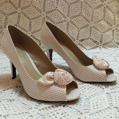 Peep toe checkered heels Light pink and white checkered peeptoe heels. Worn twice, no scuffs. Super cute summer addition! Ann Marino Shoes Heels