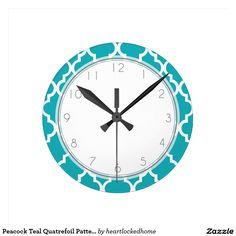 Peacock Teal Quatrefoil Pattern Clock
