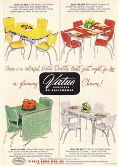 Retro Vintage C. Dianne Zweig - Kitsch 'n Stuff: Virtue Brothers of California Chrome Dinettes: Retro Tables and Chairs Retro Ads, Vintage Advertisements, Vintage Ads, Vintage Decor, Vintage Furniture, Modern Furniture, Plywood Furniture, Vintage Pink, Furniture Design