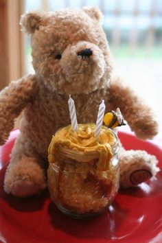 classic winnie the pooh teddy bear with cupcake honey pot