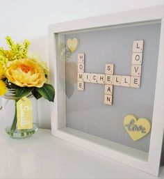White Box Frame, Scrabble Art, Frame Background, Frame Sizes, Box Frames, Gifts For Friends, Colorful Backgrounds, Unique Gifts, My Etsy Shop