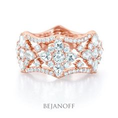 Rose Cut Diamond Eternity Ring in Rose Gold by Bejanoff
