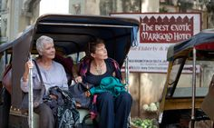 L-R: Judi Dench and Celia Imrie in THE BEST EXOTIC MARIGOLD HOTEL.  A movie for twenty-somethings and fifty-plus
