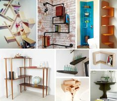 I love the tables .  DIY Bedroom Storage - Corner Shelves