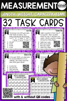 32 Measurement Conversions Task Cards which include customary and metric word problems to help your students practice measurement conversions. Perfect for review, Scoot game, math center, assessment tool, or test prep! Math Skills Included:customary length, customary weight, customary capacity, metric length, metric weight, metric capacity, clock time, calendar time, periods of time
