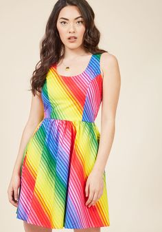 <p>When faced with tough decisions, you let this radiant rainbow-striped dress do the talking! Unapologetically bright, comfortably cotton, and crafted with princess seams, a gathered waistline, and pockets, this all-inspiring frock is your answer to all of life's inquiries.</p>