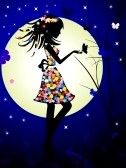 girl and the moon stock photography