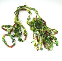 Green necklace  beaded necklace  beaded jewelry  long by ibics