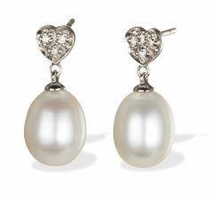 Diamond Heart & Drop Pearl Earrings in 14k White Gold