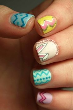 Easter Nails: These eye-catching nails with the chevron designs will remind you of Easter eggs. Click through to discover more easy and cute Easter nail designs to try this spring.