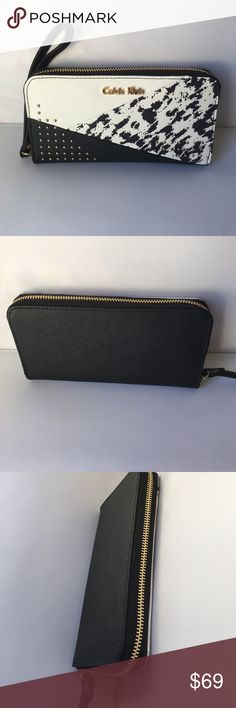 """Calvin Klein scarlett patchwork zip wallet a modern zip continental wallet featuring a patchwork design and stud detailing in textured saffiano leather.textured saffiano leather walletzip closure + wristlet straplogo plaque on frontpatchwork pattern + stud detailinginterior zip pocket2 bill slots12 card slotsfully linedsaffiano leatherimported5.5"""" wristlet drop7.75"""" wide x 4.25"""" tall x 1"""" deep Calvin Klein Bags Wallets"""