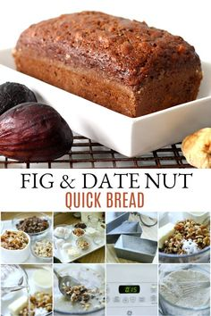 Make a sweet loaf of fig & date nut bread perfect with tea or coffee for a nutritious breakfast or snacking. This easy recipe for quick bread is full of flavor! Fig & Date Nut Bread Fig Recipes, Bread Recipes, Cake Recipes, Dessert Recipes, Desserts, Recipes With Figs, Fig Bread, Grateful Prayer, Recipes