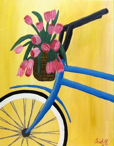 Bike with basket of flowers acrylic painting