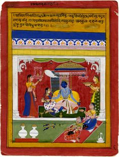 "Attributed to Sahibdin  ""Leaf from the Rasikapriya of Keshava Dasa: Krishna as the ideal hero and lover"", c. 1630-1635. University of Virginia Art Museum. India, Rajasthan, Mewar, Udaipur"