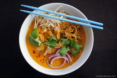Thai Curry Chicken Noodle Soup - surprisingly easy to make, and huge flavor!   foxeslovelemons.com
