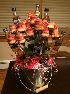 Roses are red violets are blue give me some rose shaped bacon and some Jack Daniels too. ❤❤ #ValentinesDay #ManBasket #BaconLover