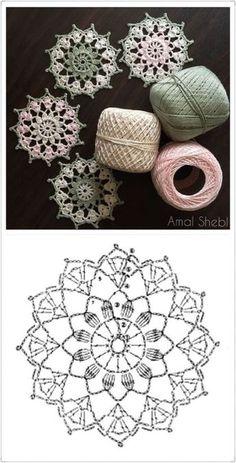 64 Mini Carpetas circulares en crochet (Patrones) Knitting TechniquesCrochet For BeginnersCrochet PatronesCrochet Stitches Crochet Snowflake Pattern, Crochet Snowflakes, Crochet Doily Patterns, Crochet Diagram, Crochet Chart, Crochet Squares, Thread Crochet, Filet Crochet, Crochet Doilies