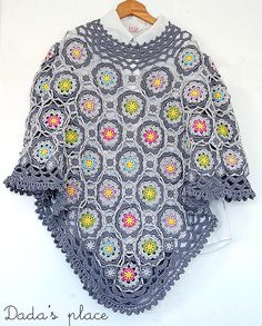 Crochet poncho  New 100 cotton beautiful & colorful by DadasPlace, $180.00