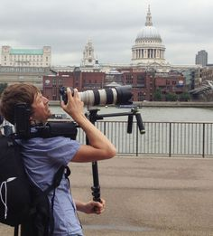 Our camera man getting a shot of our model on London's Millennium (or Wobbly! You can see St Paul's in background Photo Shoot, Behind The Scenes, Bridge, Shots, London, Model, Travel, Photoshoot, Viajes