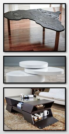 With the right decor, a coffee table can be the focal point of a living room design scheme. Unique Coffee Table, Coffee Table Styling, Rustic Coffee Tables, Diy Coffee Table, Decorating Coffee Tables, Living Room Designs, Highlight, Repurposed, Remote