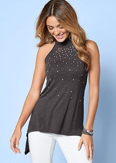 JEWELED MOCK NECK TOP, COLOR SKINNY JEANS, PEEP TOE ANKLE STRAP HEEL