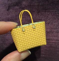 Yellow Designer Handbag Purse Satchel Tote Bag 1:12 Scale Dollhouse Miniatures
