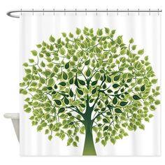Pretty Modernist Green Tree Shower Curtain on CafePress.com