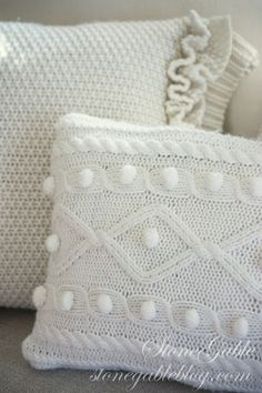 I have a pillow addiction… I just can't have enough of them!!!This winter I am warming up the beds and sofas at StoneGable with SWEATER PILLOWS. These cozy accent pillows are made from sweaters I purchased at Goodwill. Both of these pillows took just a little over an hour to create…   If …