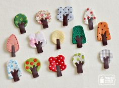 Little tree brooches made from fabric, felt and leather.They are my original design. Cut and sew with love.They are different sizes, not larger than cm wide x 6 cm high. Felt Crafts, Fabric Crafts, Sewing Crafts, Diy And Crafts, Sewing Projects, Arts And Crafts, Fabric Brooch, Felt Brooch, Felt Fabric