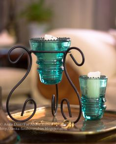Insulator candle holders...I have one of these!!!! Love it with my purple insulator!