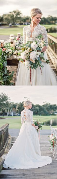 white lace long wedding dress, 2017 wedding dress, long sleeves wedding dress